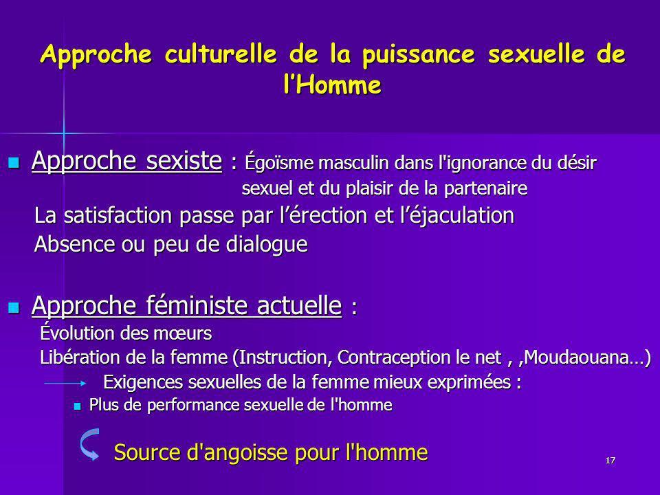 Approche culturelle de la puissance sexuelle de l'Homme