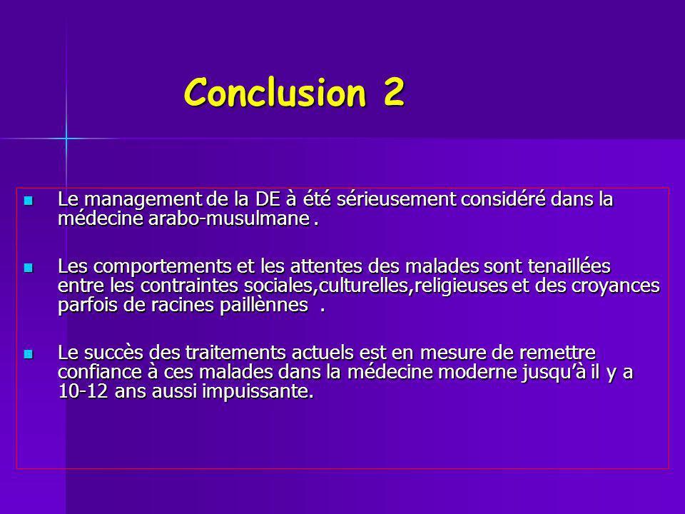 Conclusion 2 Le management de la DE à été sérieusement considéré dans la médecine arabo-musulmane .