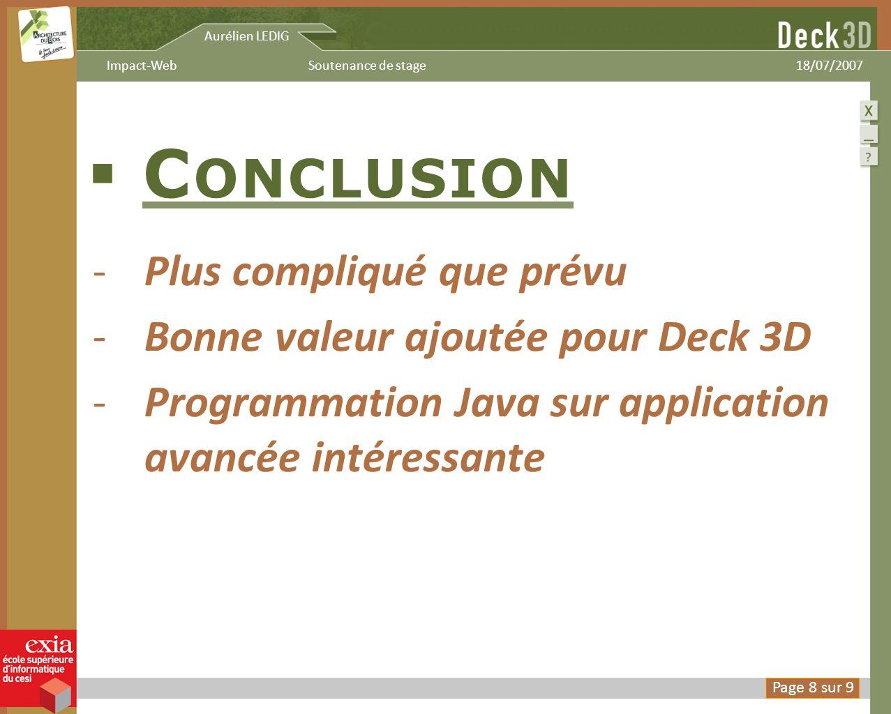 Conclusion Plus compliqué que prévu Bonne valeur ajoutée pour Deck 3D