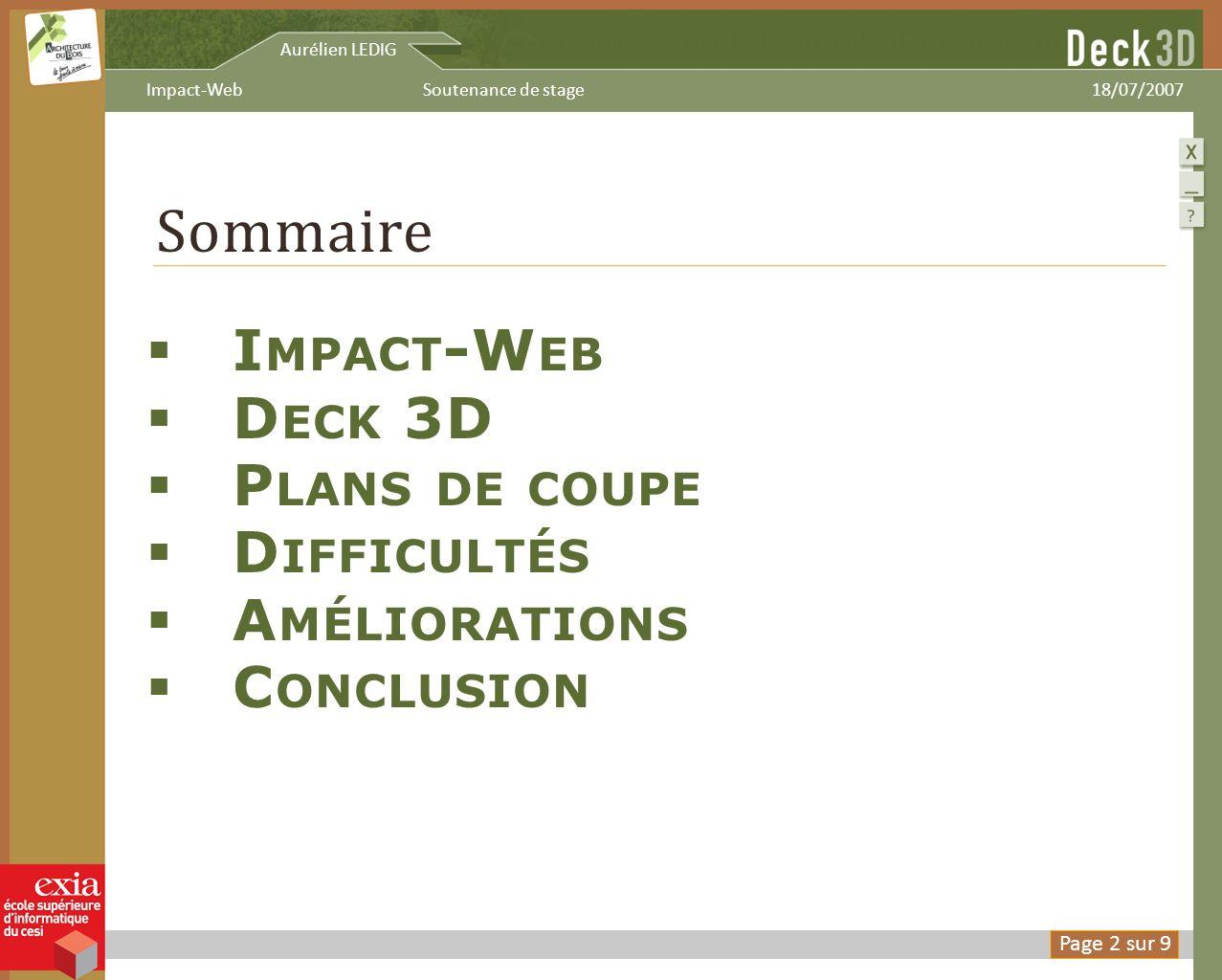 Sommaire Impact-Web Deck 3D Plans de coupe Difficultés Améliorations