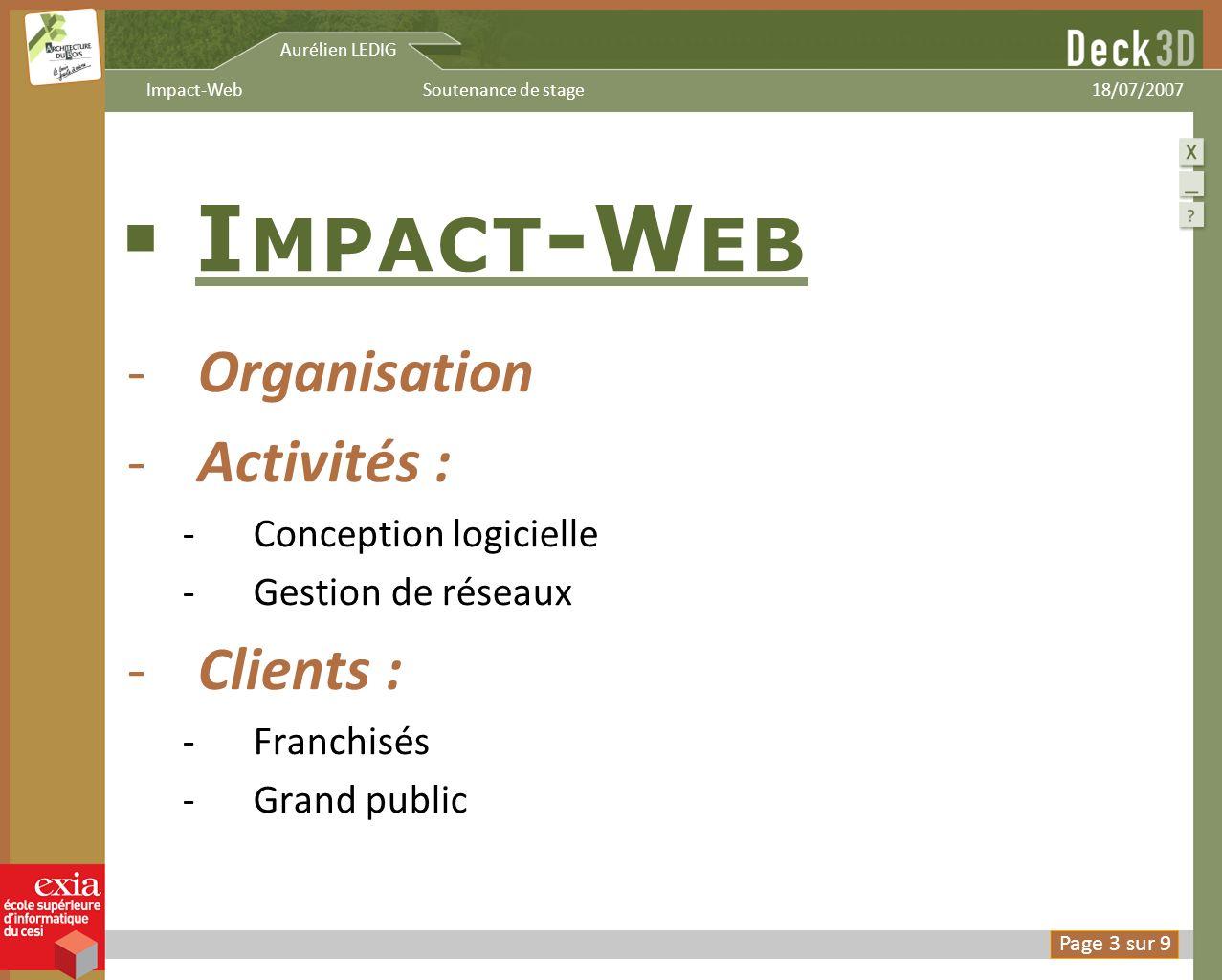 Impact-Web Organisation Activités : Clients : Impact-Web.