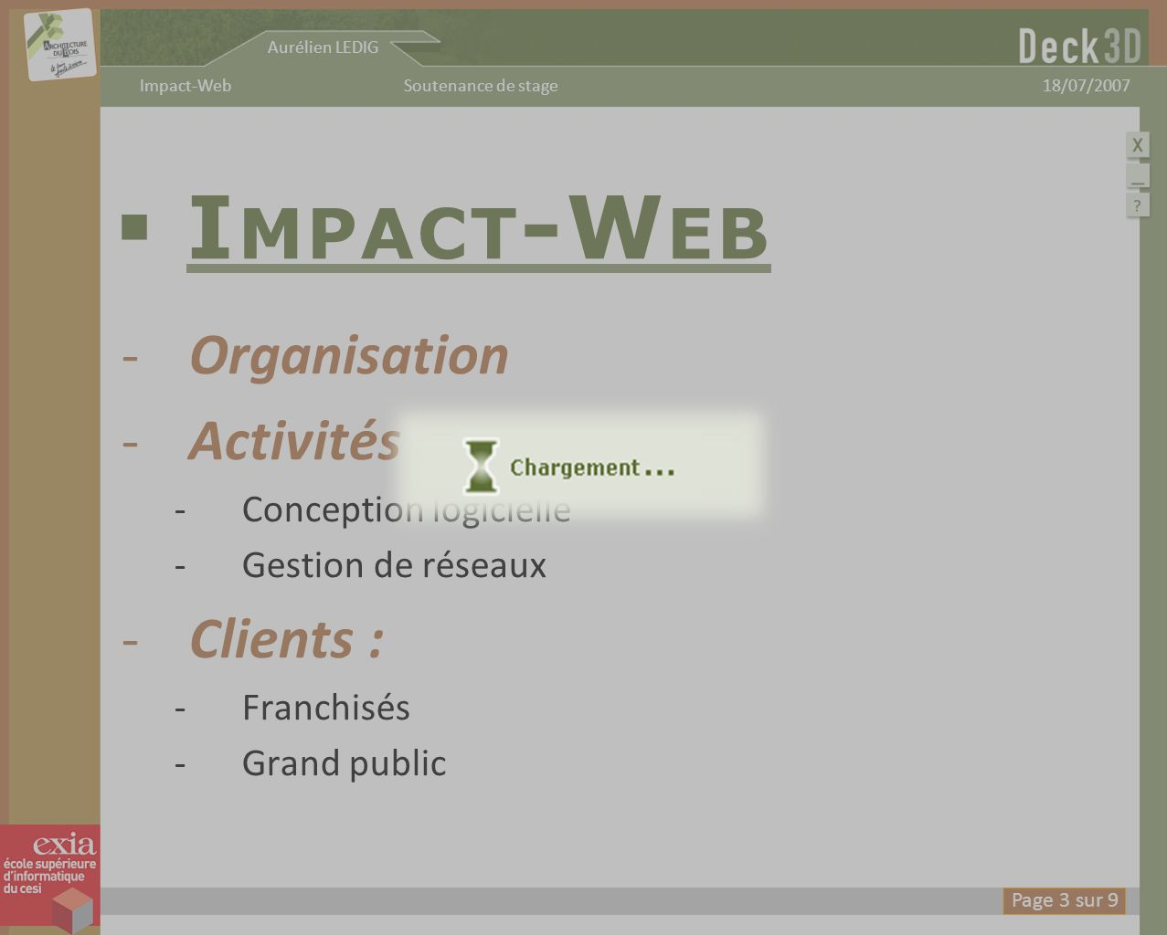 Impact-Web Organisation Activités : Clients : Conception logicielle