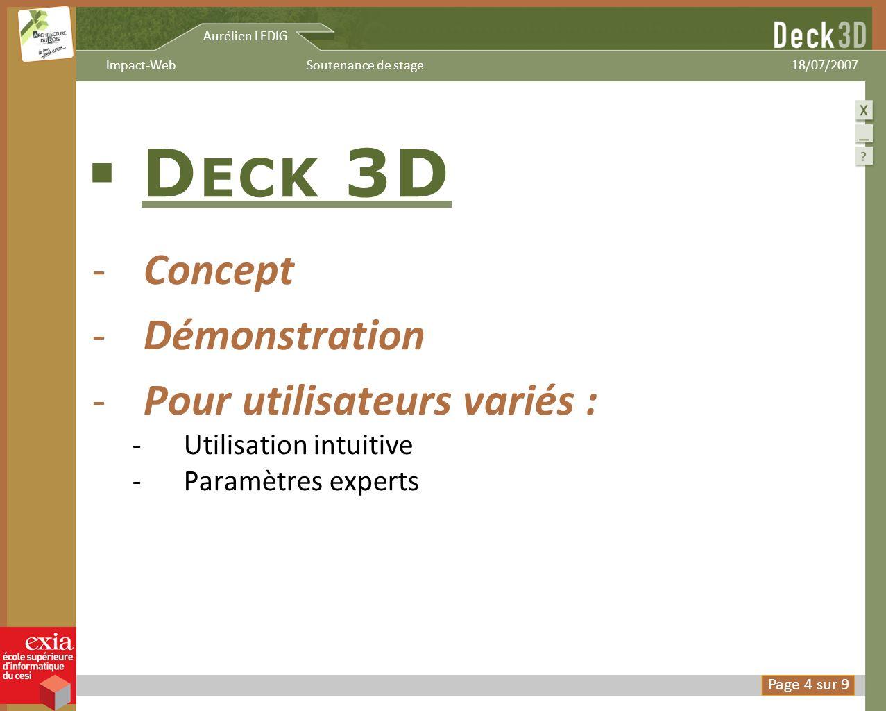 Deck 3D Concept Démonstration Pour utilisateurs variés :
