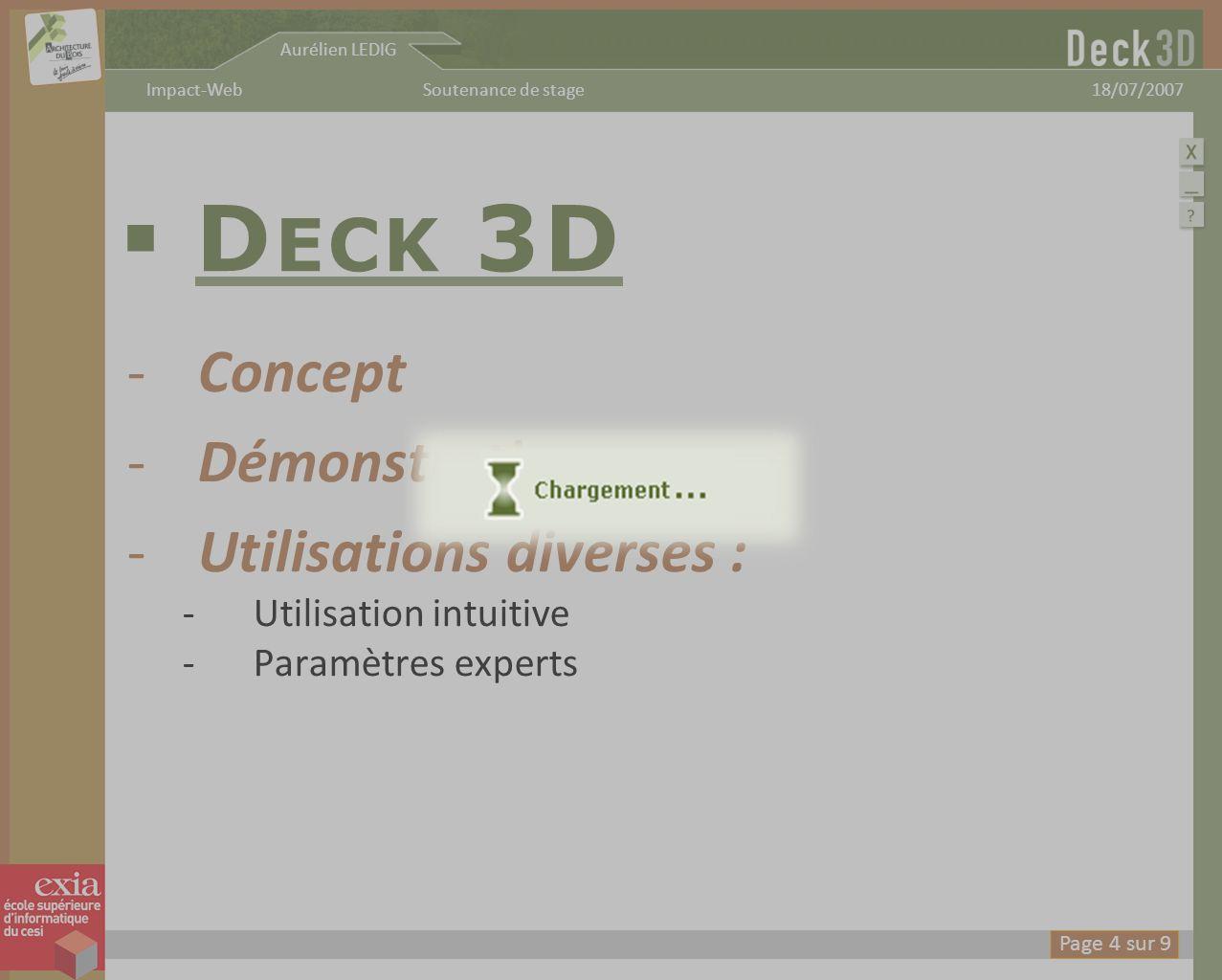 Deck 3D Concept Démonstration Utilisations diverses :