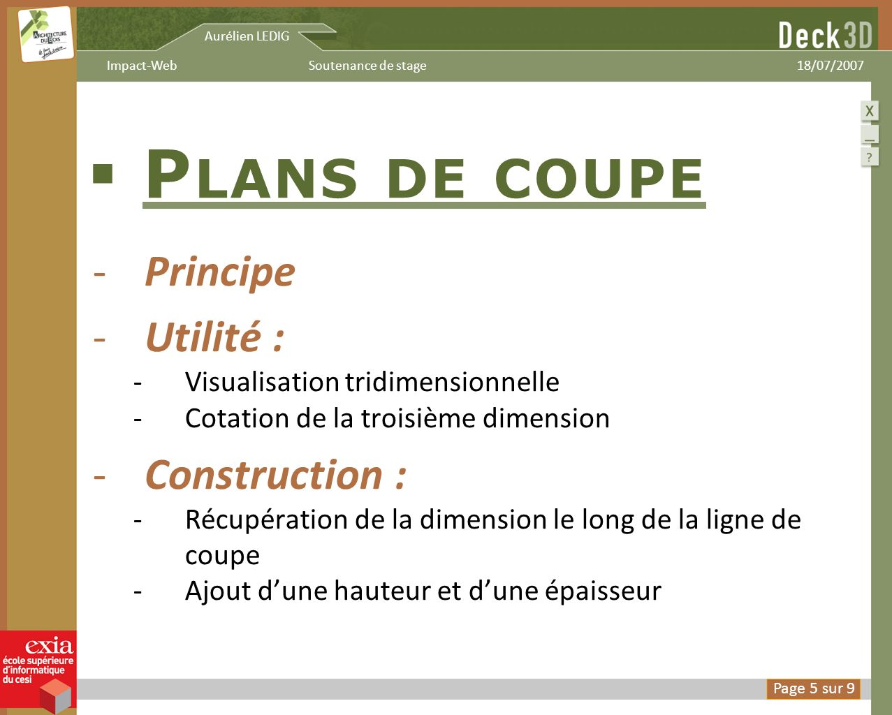 Plans de coupe Principe Utilité : Construction :