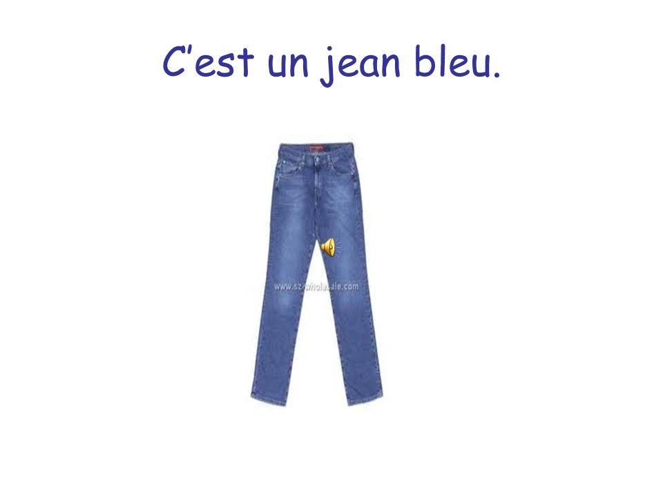 C'est un jean bleu.