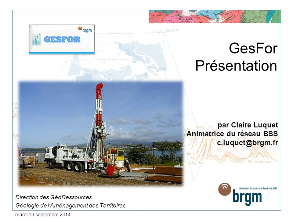 Direction des GéoRessources Géologie de l'Aménagement des Territoires