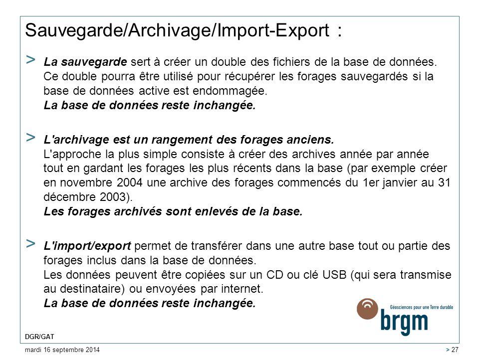Sauvegarde/Archivage/Import-Export :