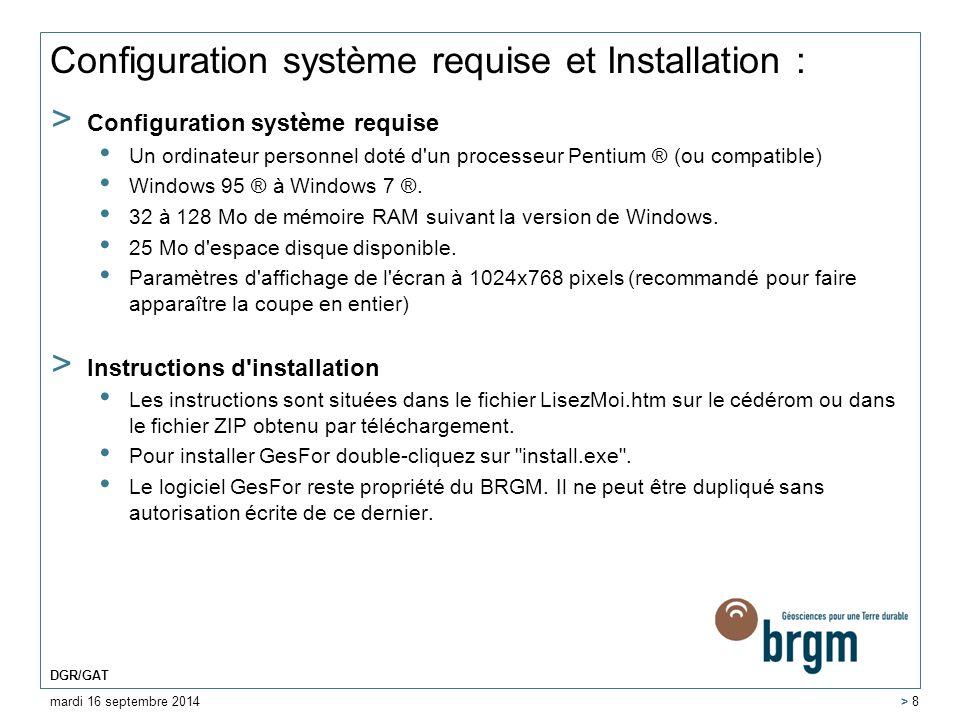 Configuration système requise et Installation :