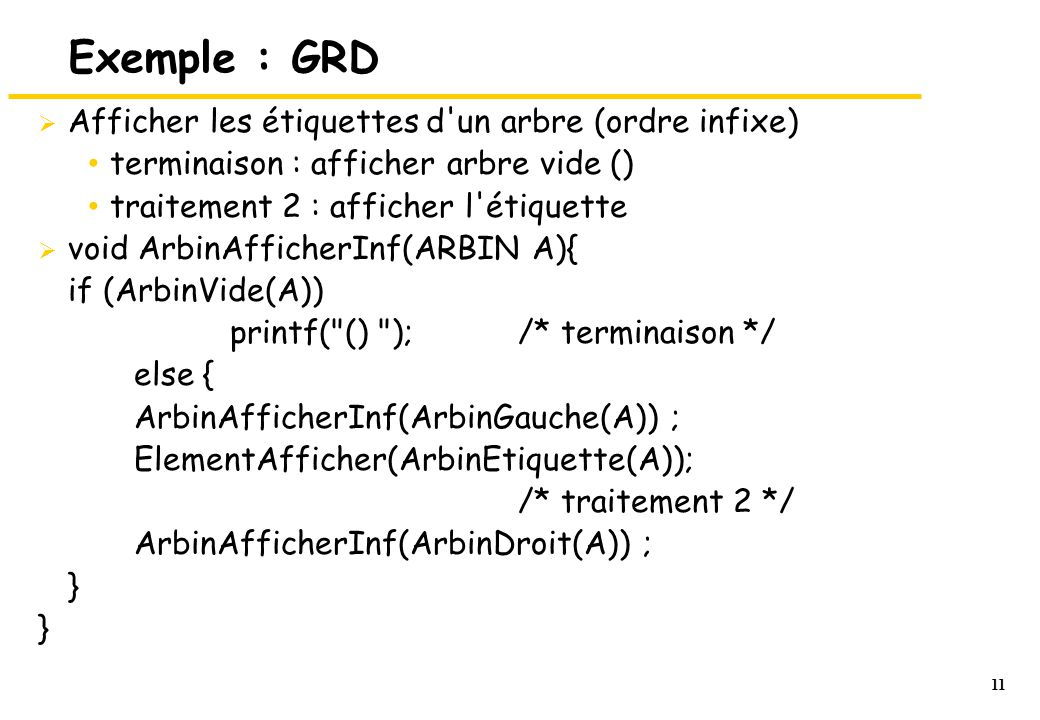 Exemple : GRD Afficher les étiquettes d un arbre (ordre infixe)