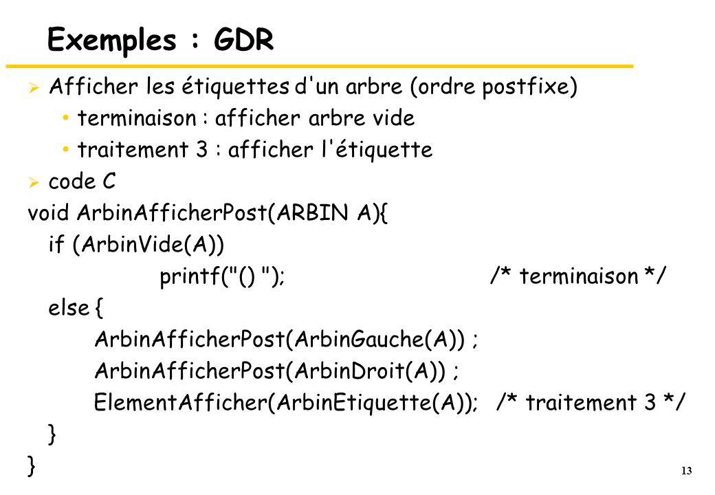 Exemples : GDR Afficher les étiquettes d un arbre (ordre postfixe)