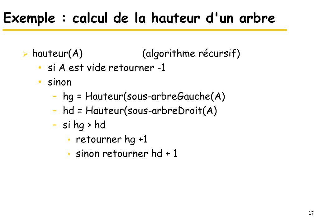 Exemple : calcul de la hauteur d un arbre