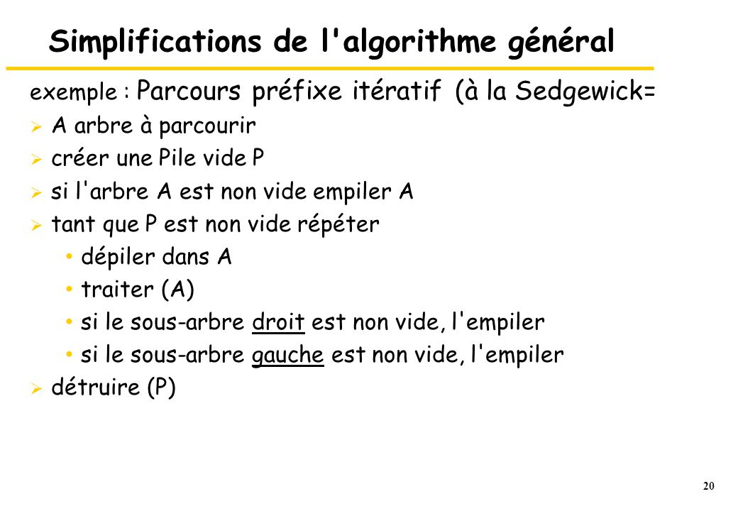 Simplifications de l algorithme général