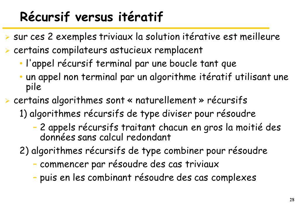 Récursif versus itératif