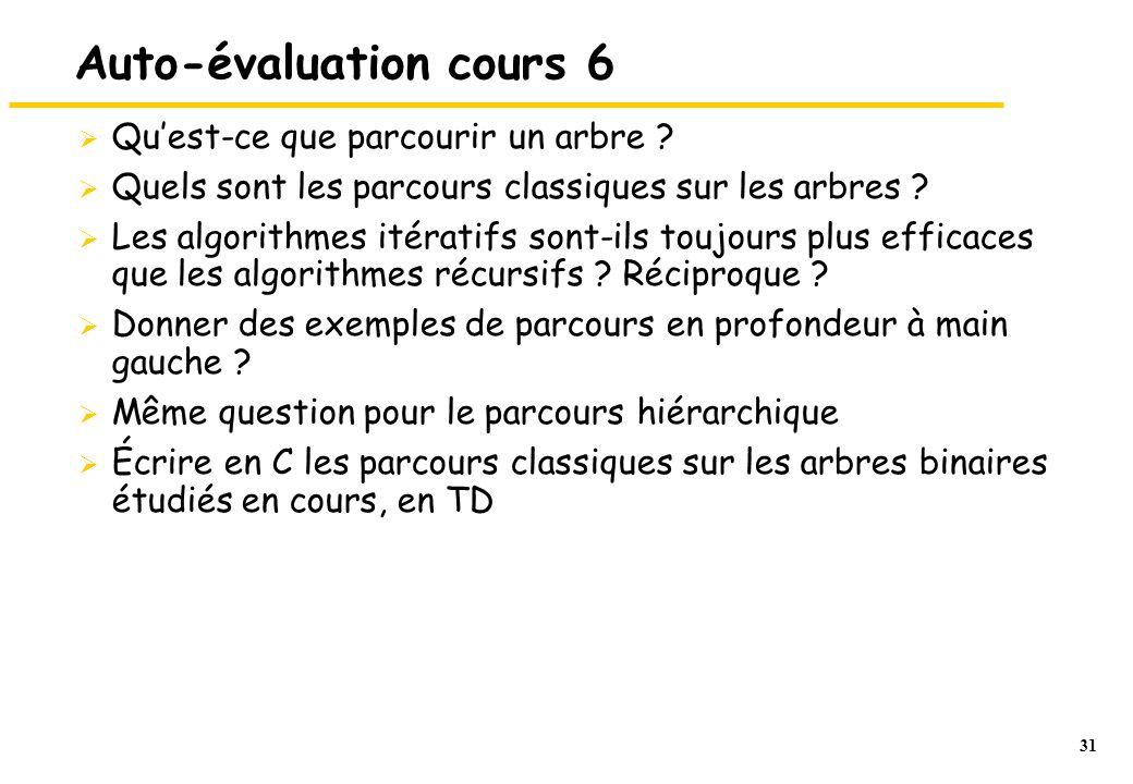 Auto-évaluation cours 6