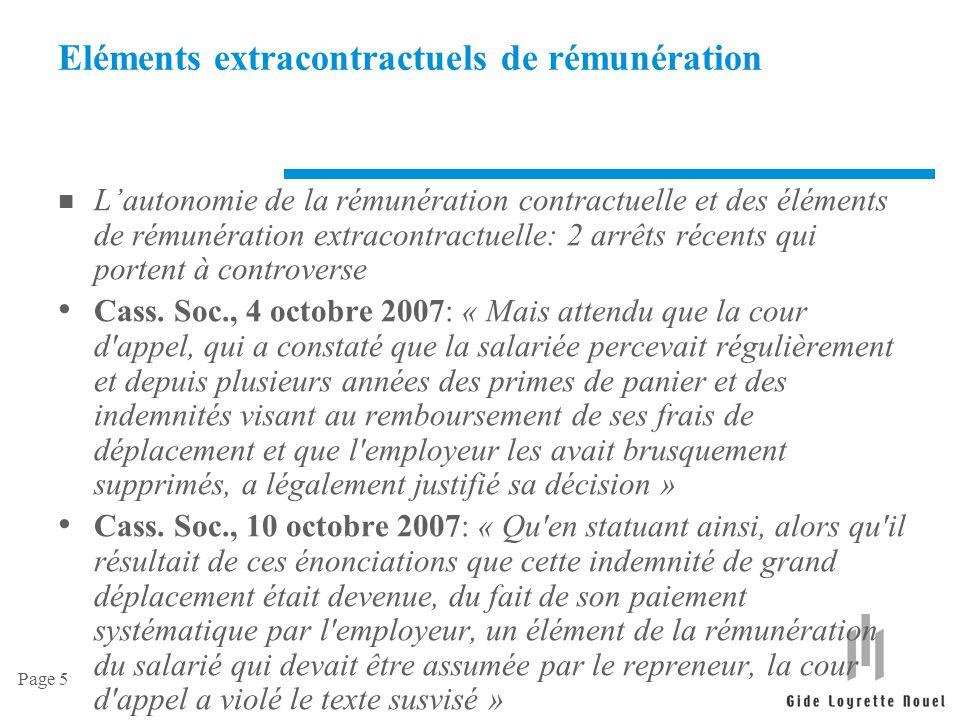 Eléments extracontractuels de rémunération