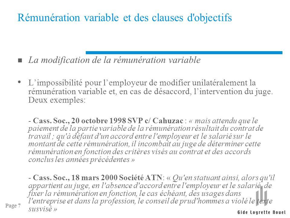Rémunération variable et des clauses d objectifs
