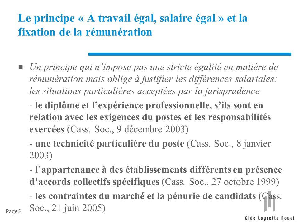 Le principe « A travail égal, salaire égal » et la fixation de la rémunération