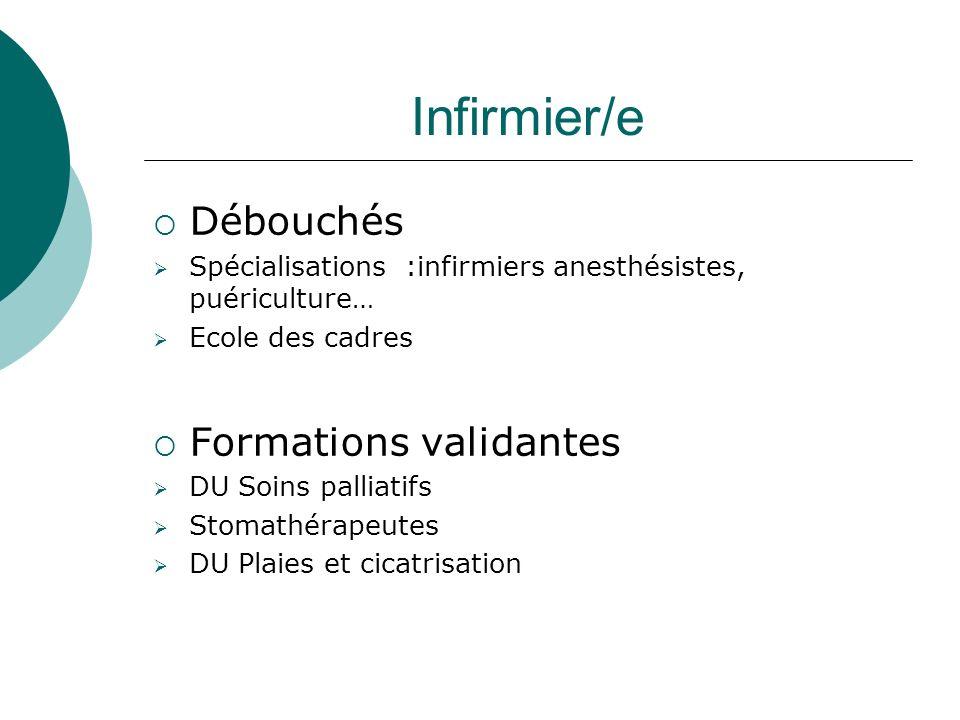 Infirmier/e Débouchés Formations validantes