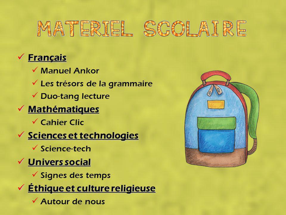 Sciences et technologies Univers social Éthique et culture religieuse