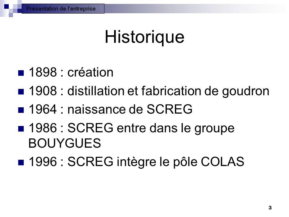 Historique 1898 : création. 1908 : distillation et fabrication de goudron. 1964 : naissance de SCREG.