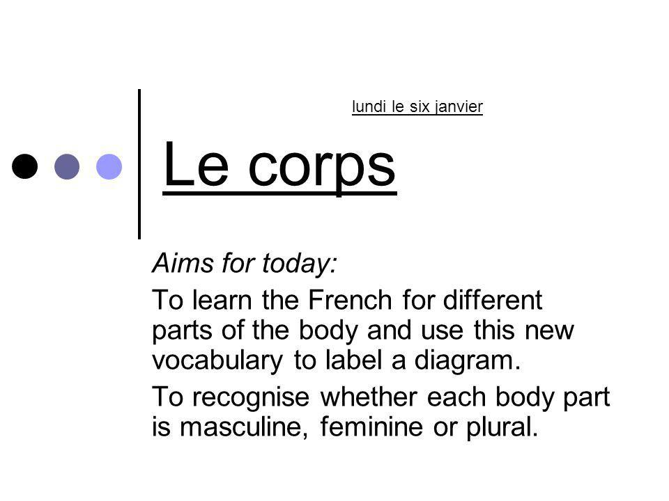 Le corps Aims for today: