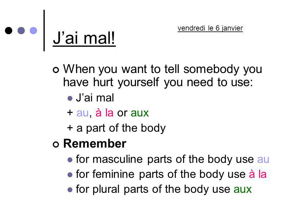 J'ai mal! vendredi le 6 janvier. When you want to tell somebody you have hurt yourself you need to use: