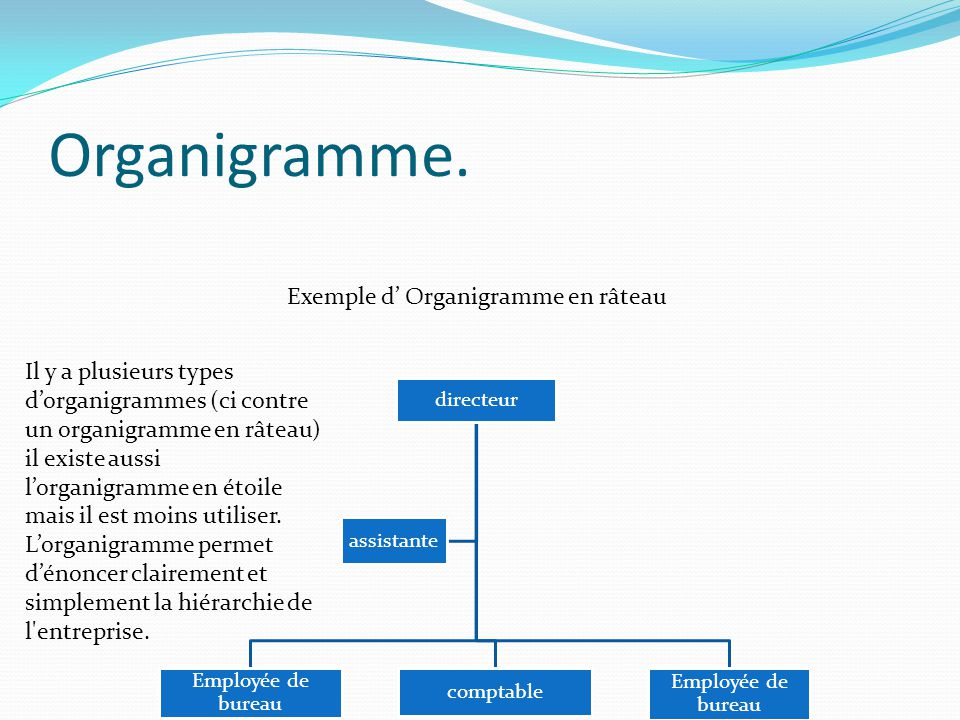 Organigramme. Exemple d' Organigramme en râteau