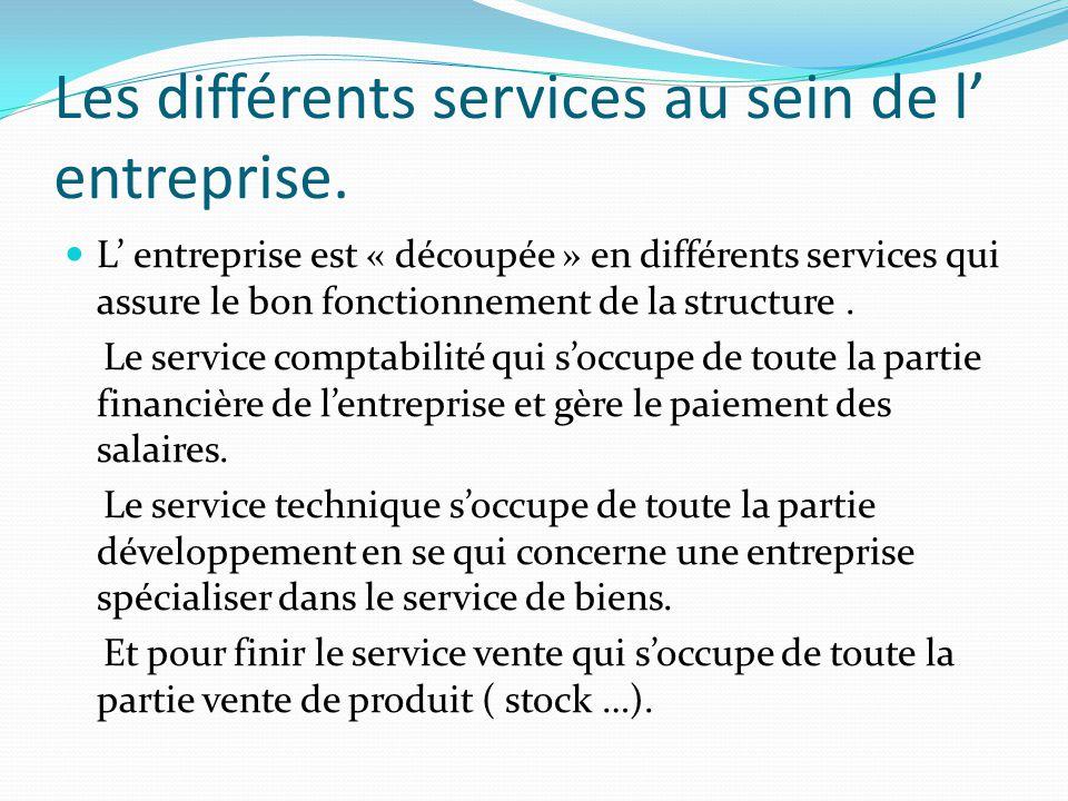 Les différents services au sein de l' entreprise.