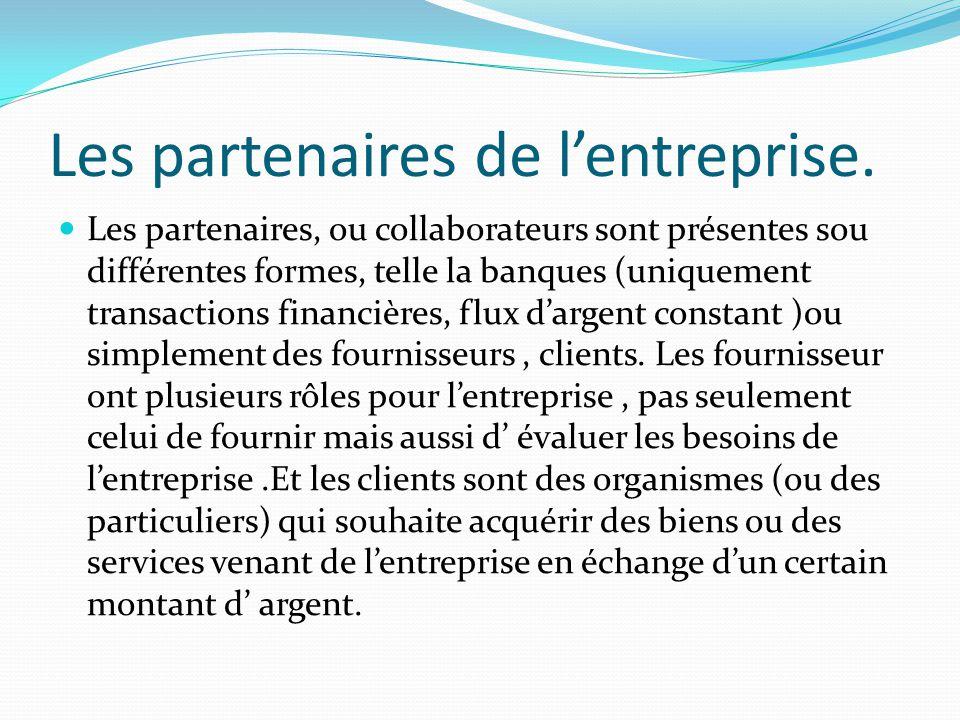 Les partenaires de l'entreprise.