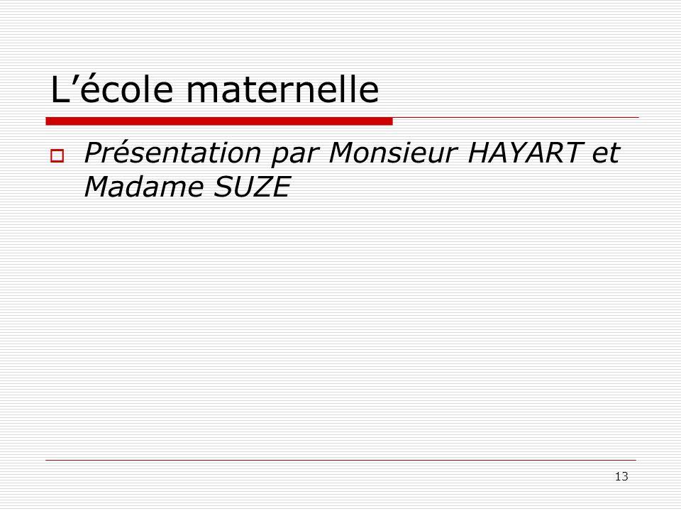 L'école maternelle Présentation par Monsieur HAYART et Madame SUZE