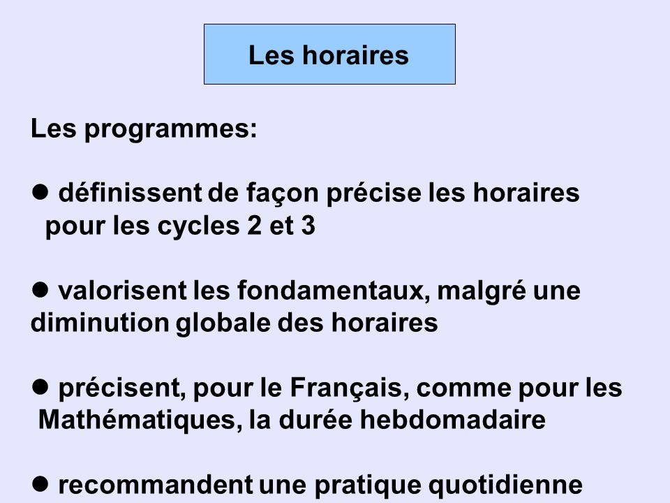 Les horaires Les programmes: définissent de façon précise les horaires. pour les cycles 2 et 3. valorisent les fondamentaux, malgré une.