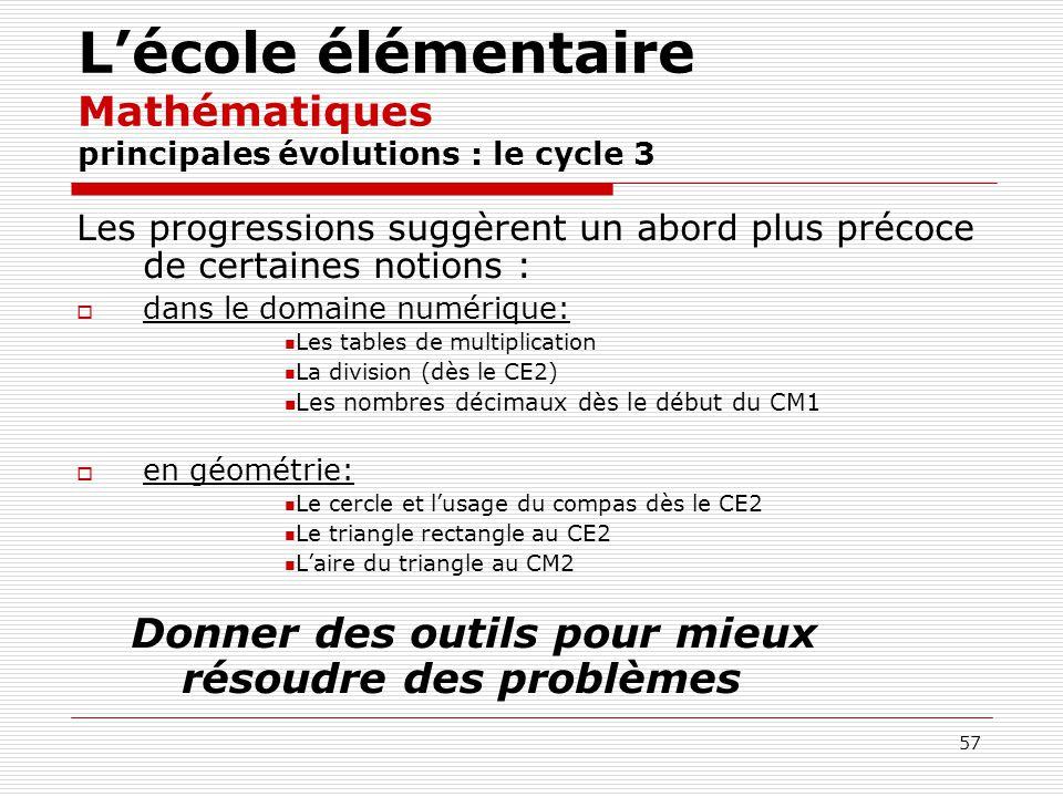 L'école élémentaire Mathématiques principales évolutions : le cycle 3