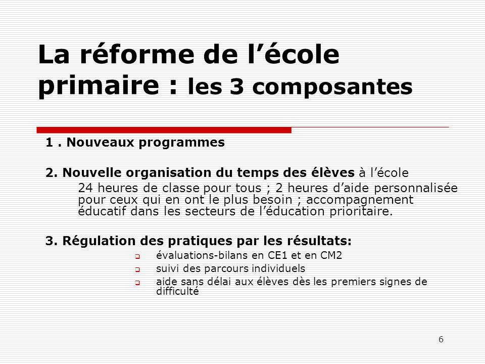 La réforme de l'école primaire : les 3 composantes