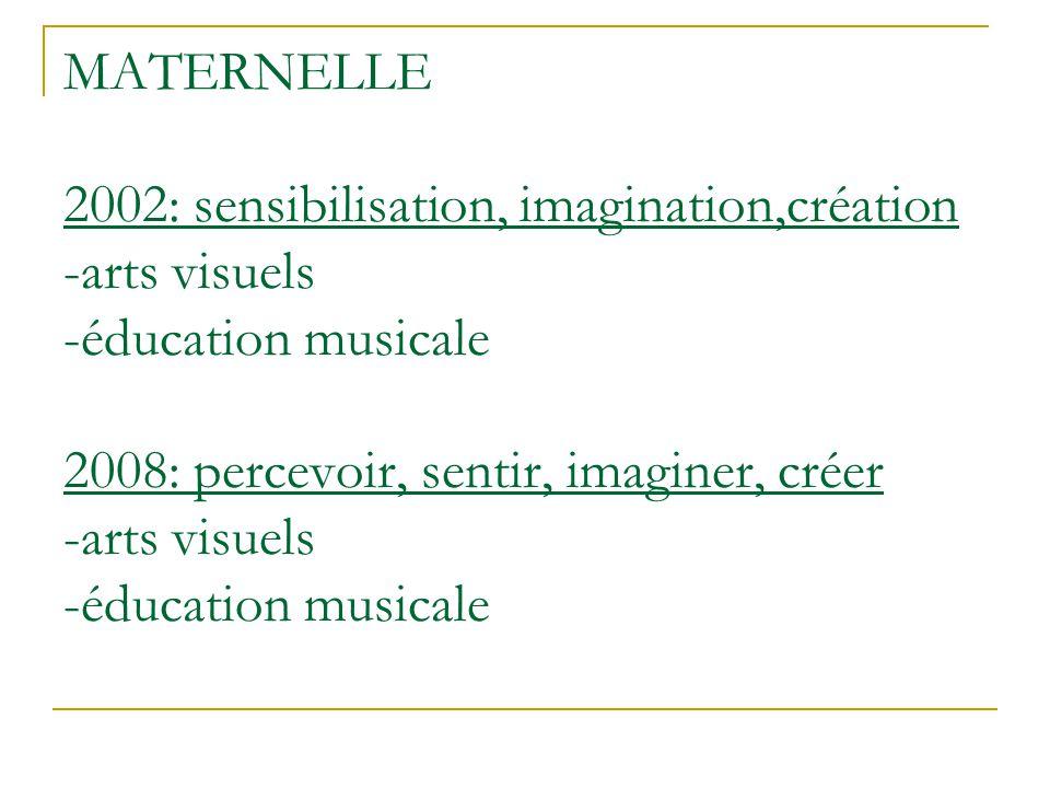 MATERNELLE 2002: sensibilisation, imagination,création -arts visuels -éducation musicale 2008: percevoir, sentir, imaginer, créer -arts visuels -éducation musicale