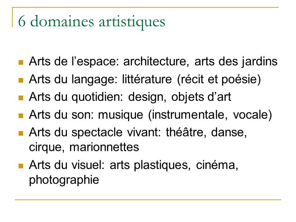 6 domaines artistiques Arts de l'espace: architecture, arts des jardins. Arts du langage: littérature (récit et poésie)