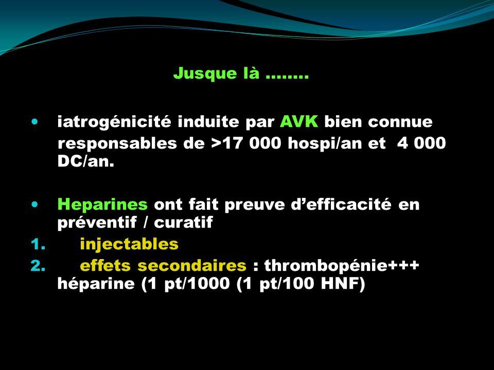 Jusque là …….. iatrogénicité induite par AVK bien connue. responsables de >17 000 hospi/an et 4 000 DC/an.