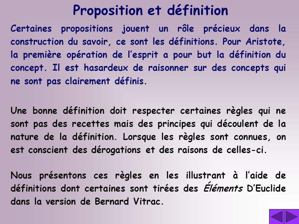 Proposition et définition