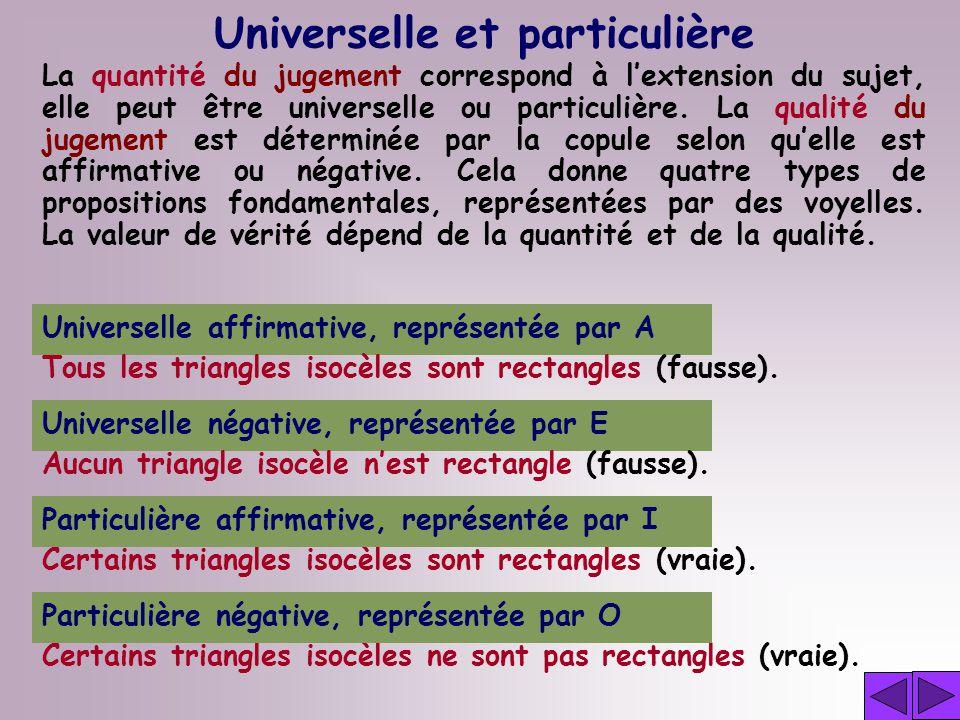 Universelle et particulière