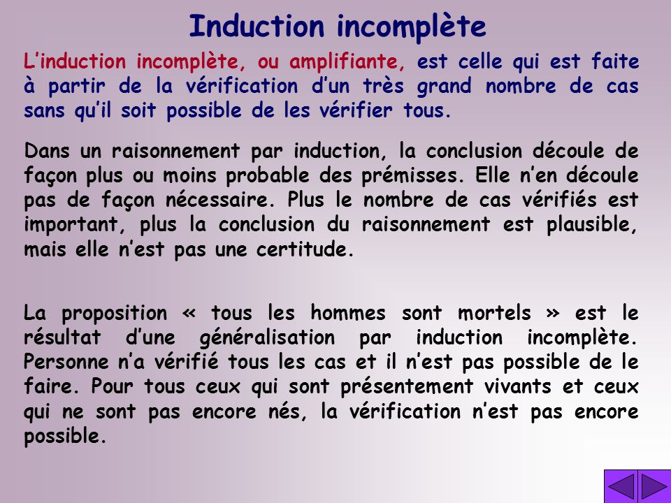 Induction incomplète