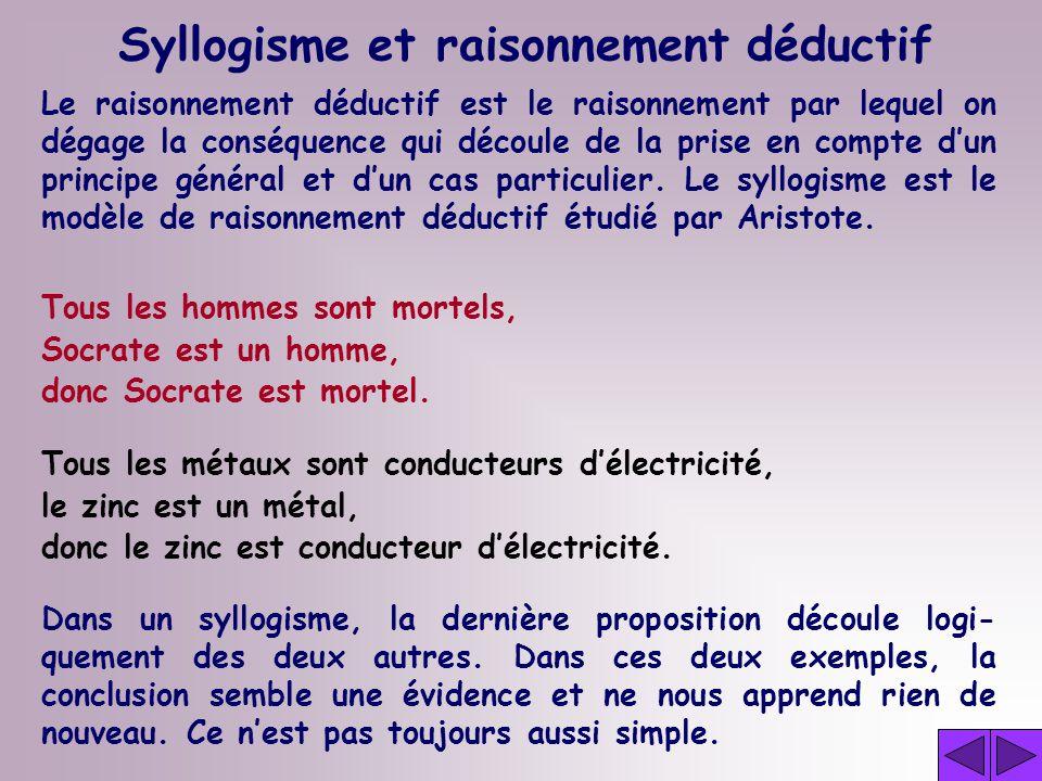Syllogisme et raisonnement déductif