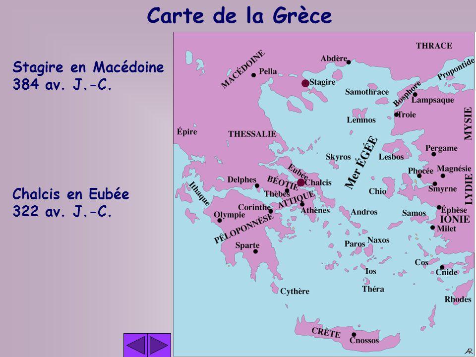 Carte de la Grèce Stagire en Macédoine 384 av. J.-C. Chalcis en Eubée
