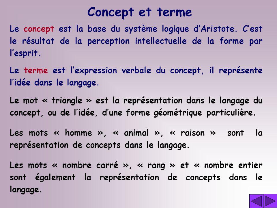 Concept et terme Le concept est la base du système logique d'Aristote. C'est le résultat de la perception intellectuelle de la forme par l'esprit.