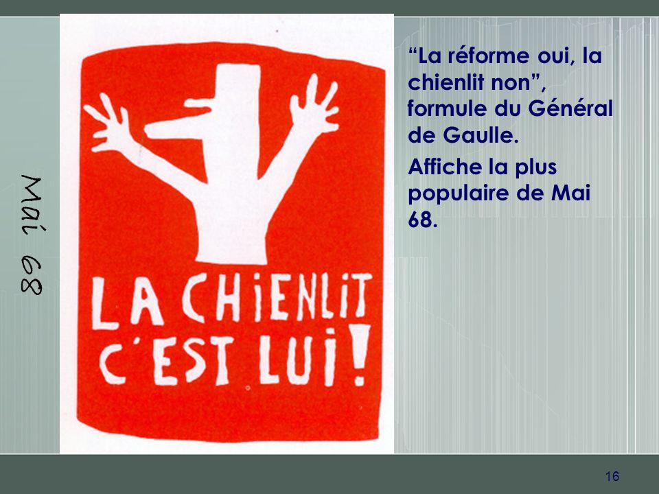 Mai 68 La réforme oui, la chienlit non , formule du Général de Gaulle.