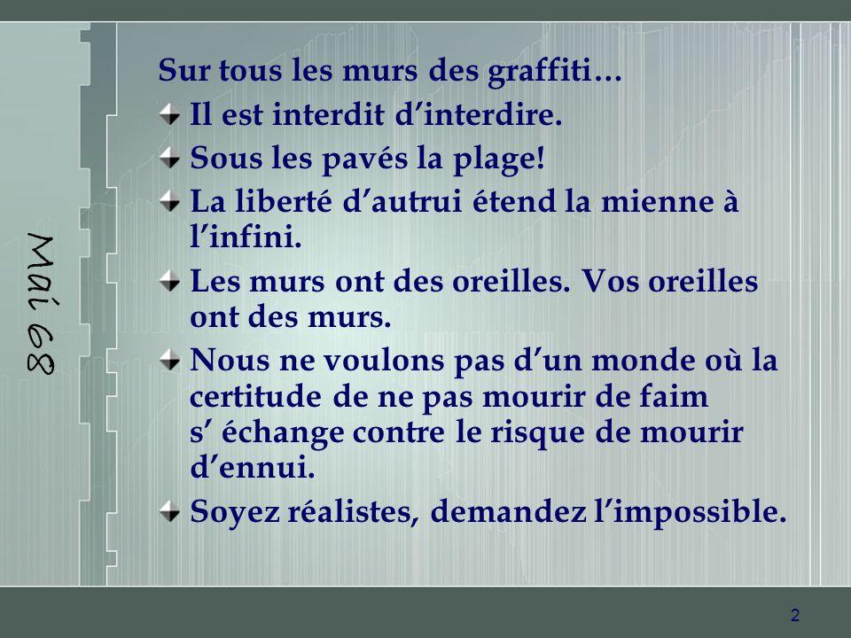 Mai 68 Sur tous les murs des graffiti… Il est interdit d'interdire.