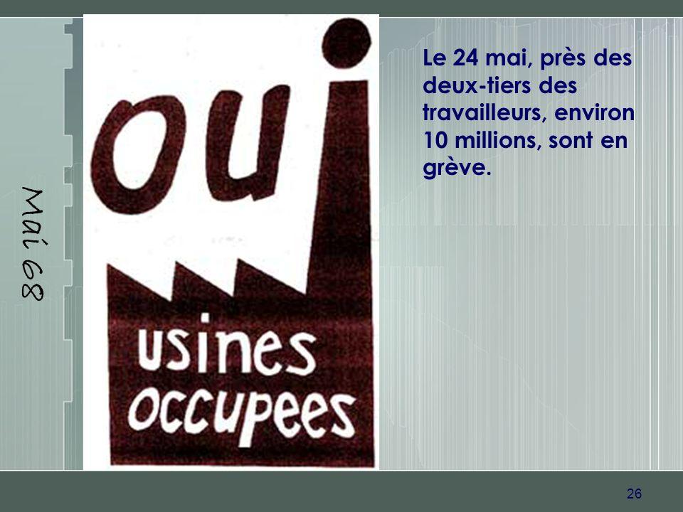 Mai 68 Le 24 mai, près des deux-tiers des travailleurs, environ 10 millions, sont en grève.
