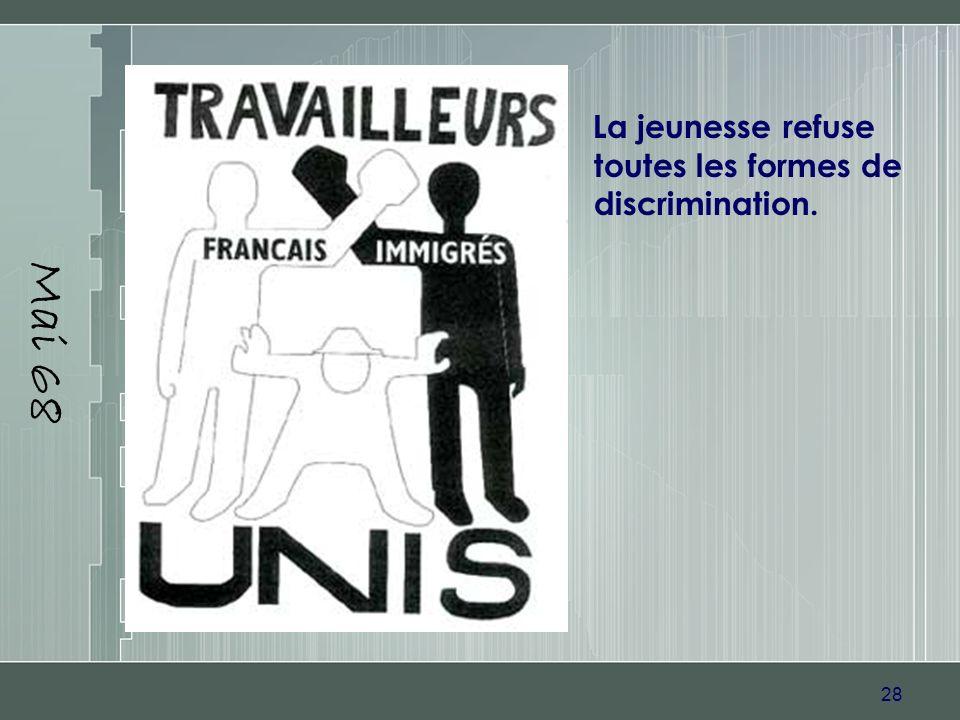 Mai 68 La jeunesse refuse toutes les formes de discrimination.