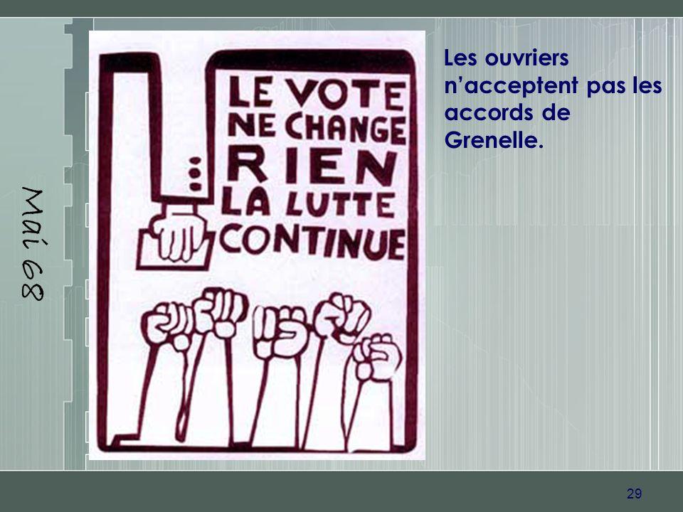 Mai 68 Les ouvriers n'acceptent pas les accords de Grenelle.