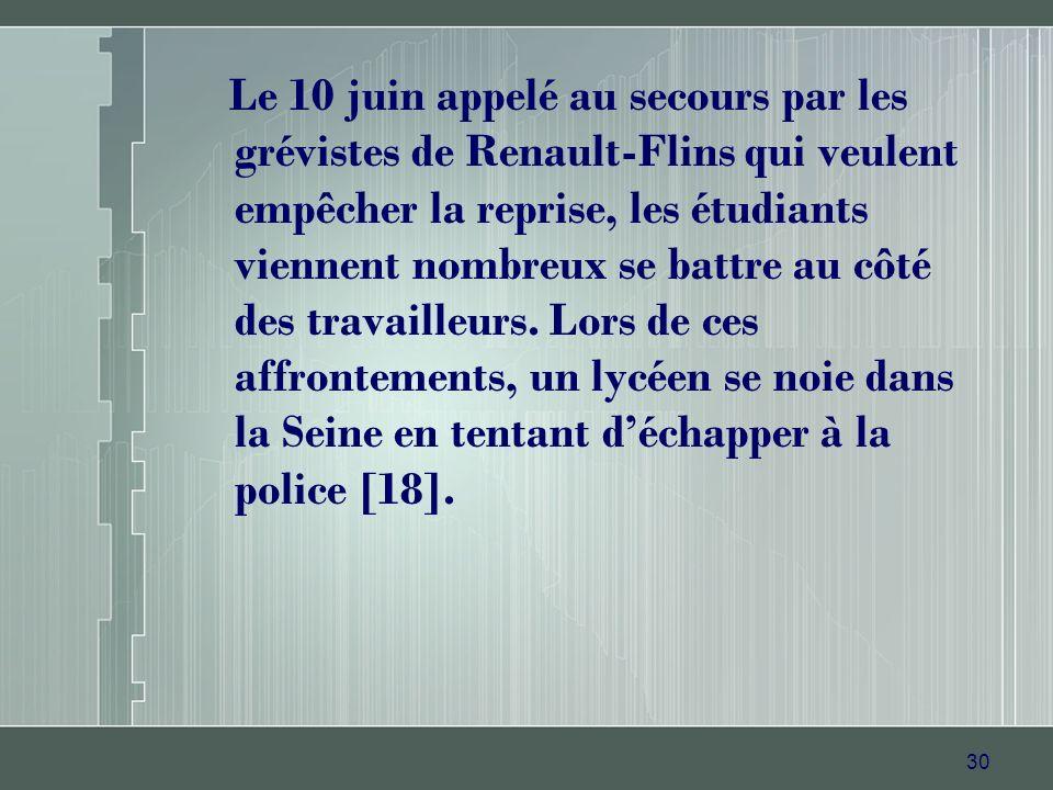 Le 10 juin appelé au secours par les grévistes de Renault-Flins qui veulent empêcher la reprise, les étudiants viennent nombreux se battre au côté des travailleurs.