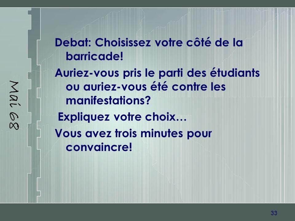Mai 68 Debat: Choisissez votre côté de la barricade!